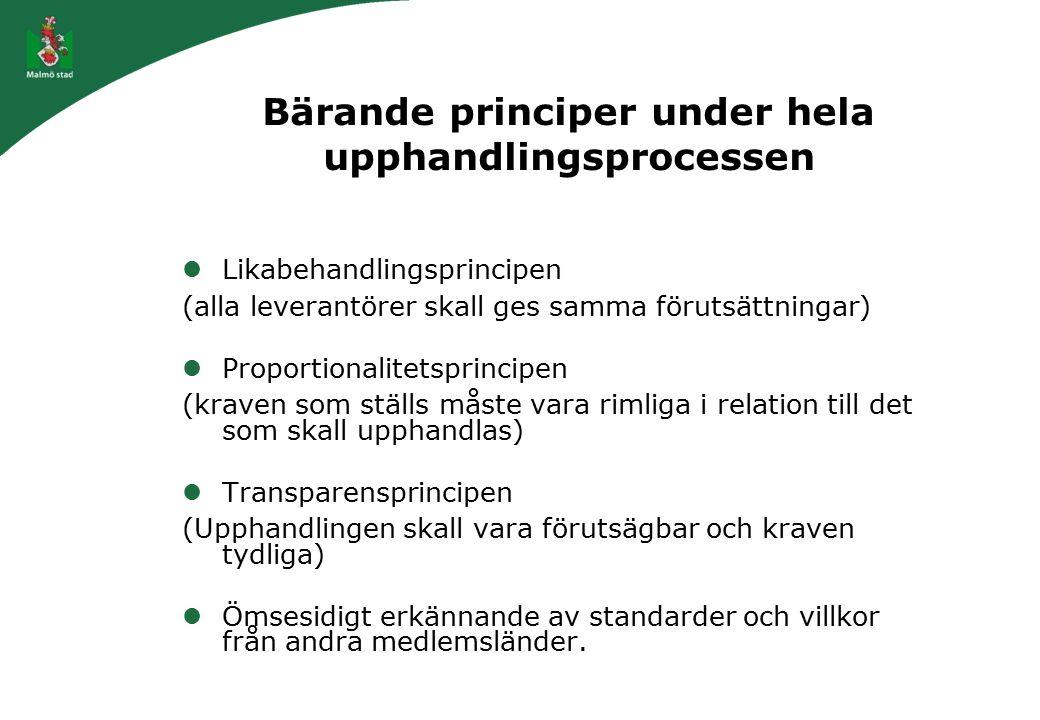 Bärande principer under hela upphandlingsprocessen Likabehandlingsprincipen (alla leverantörer skall ges samma förutsättningar) Proportionalitetsprinc