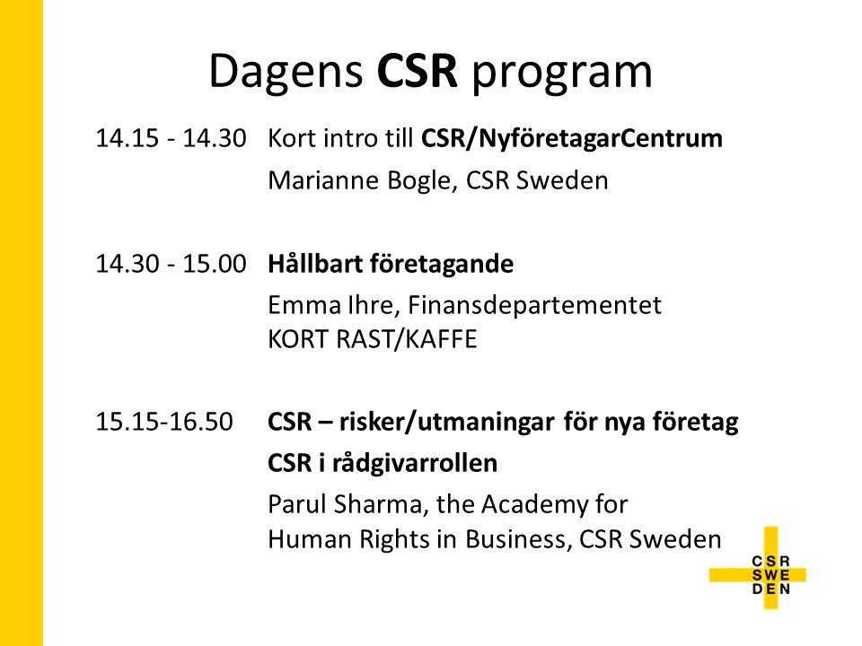 14.15 - 14.30 Kort intro till CSR/NyföretagarCentrum Marianne Bogle, CSR Sweden 14.30 - 15.00Hållbart företagande Emma Ihre, Finansdepartementet KORT