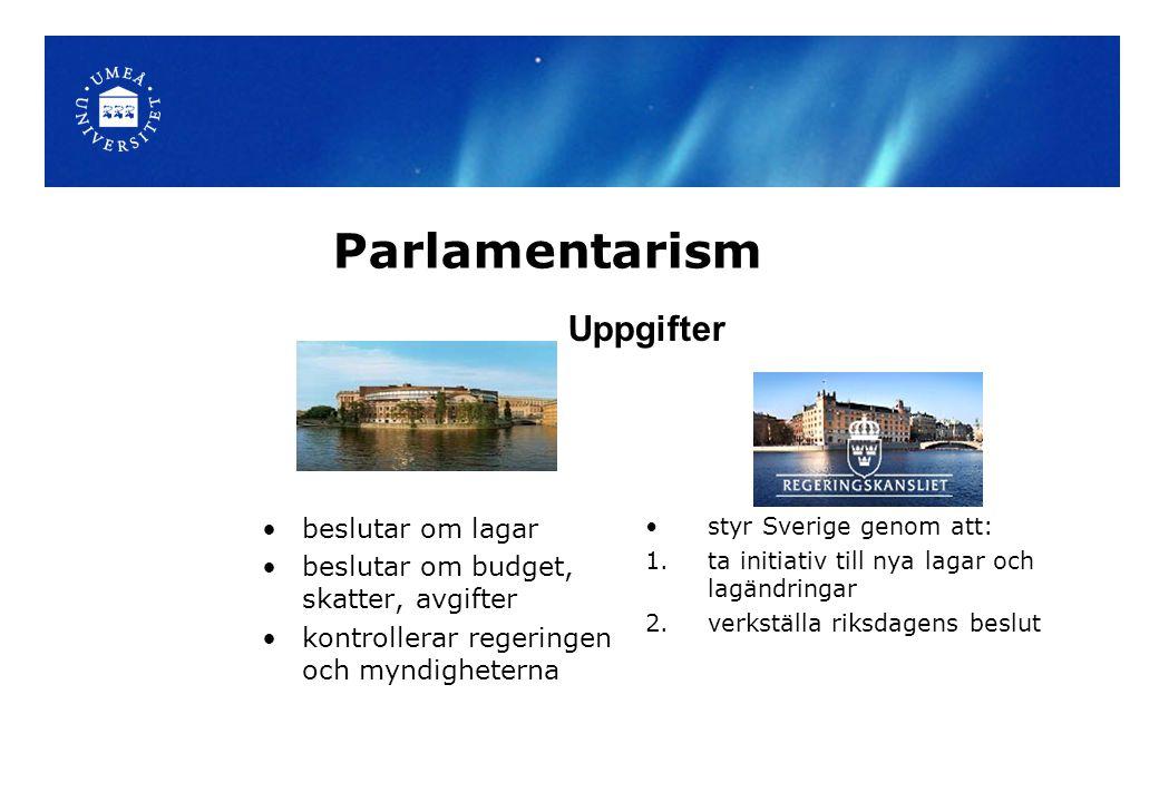 Parlamentarism beslutar om lagar beslutar om budget, skatter, avgifter kontrollerar regeringen och myndigheterna styr Sverige genom att: 1.ta initiati