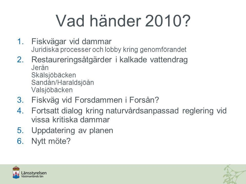 Vad händer 2010? 1.Fiskvägar vid dammar Juridiska processer och lobby kring genomförandet 2.Restaureringsåtgärder i kalkade vattendrag Jerån Skälsjöbä