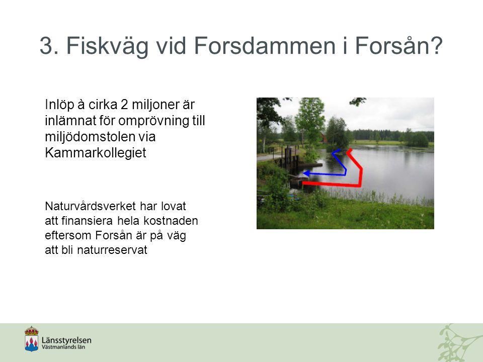 3. Fiskväg vid Forsdammen i Forsån? Inlöp à cirka 2 miljoner är inlämnat för omprövning till miljödomstolen via Kammarkollegiet Naturvårdsverket har l