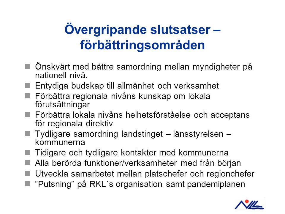Övergripande slutsatser – förbättringsområden Önskvärt med bättre samordning mellan myndigheter på nationell nivå.