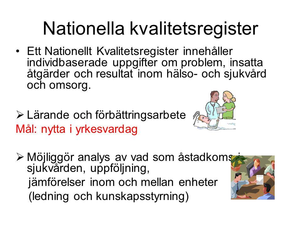Nationella kvalitetsregister Ett Nationellt Kvalitetsregister innehåller individbaserade uppgifter om problem, insatta åtgärder och resultat inom hälso- och sjukvård och omsorg.