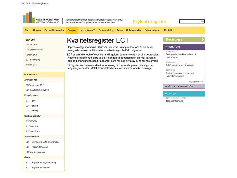 Kvalitetsregister ECT Registerhållare Lars von Knorring lars.von_knorring@neuro.uu.se 018-611-52 43 Akademiska sjukhuset Inst.
