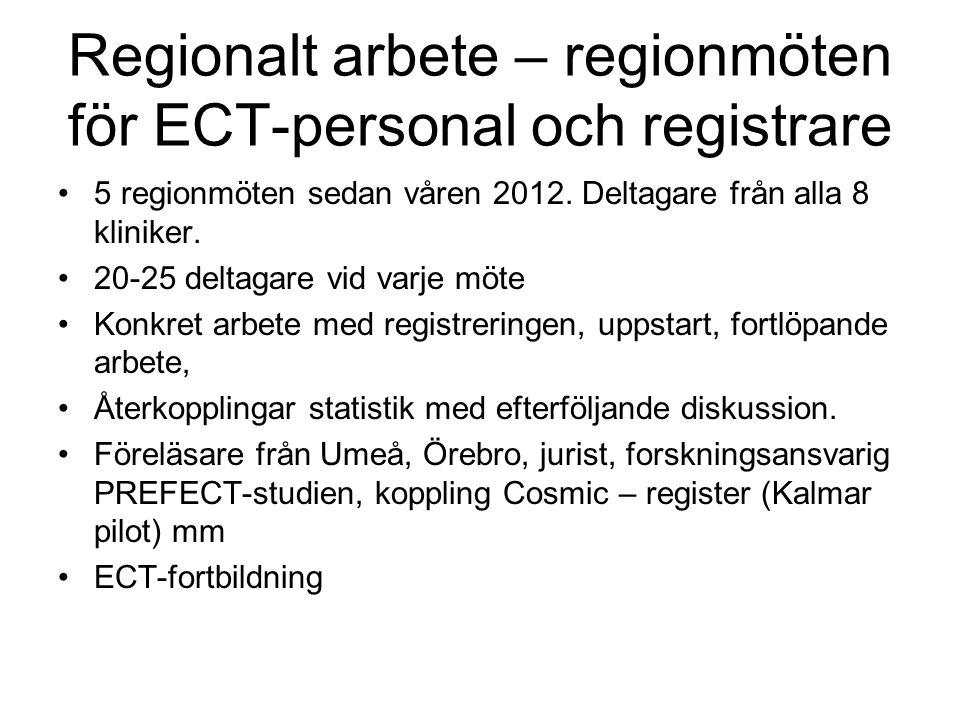 Regionalt arbete – regionmöten för ECT-personal och registrare 5 regionmöten sedan våren 2012.