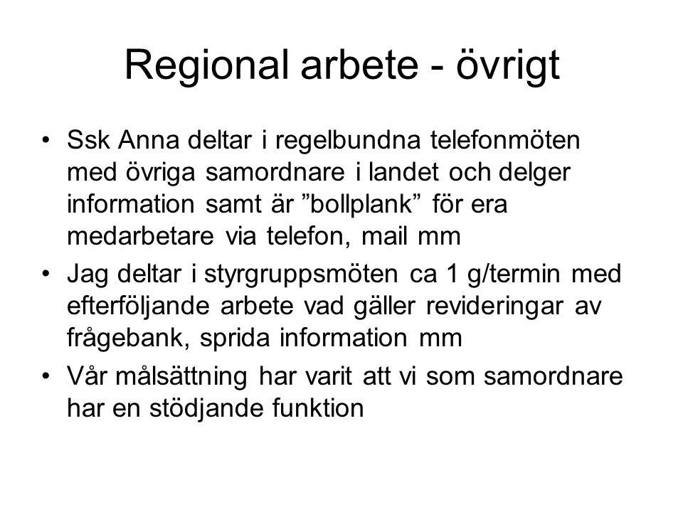 Resurser I nuläget ingen central ersättning eller samordnad resursfördelning inom regionen.