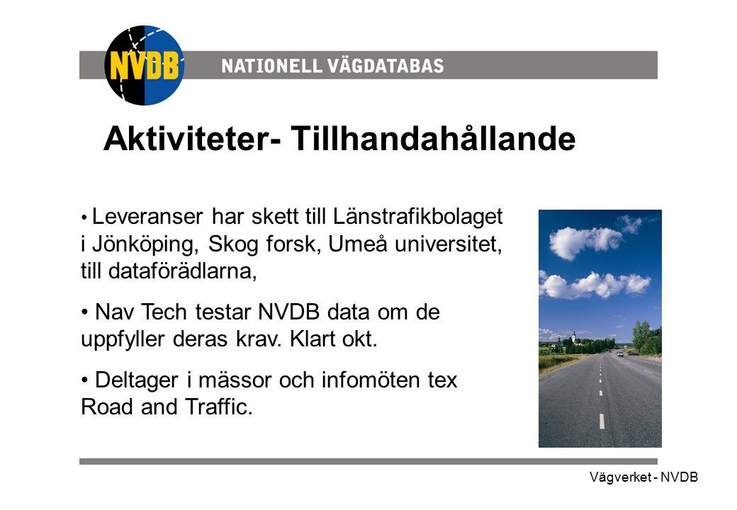 Vägverket - NVDB Aktiviteter- Tillhandahållande Leveranser har skett till Länstrafikbolaget i Jönköping, Skog forsk, Umeå universitet, till dataförädl