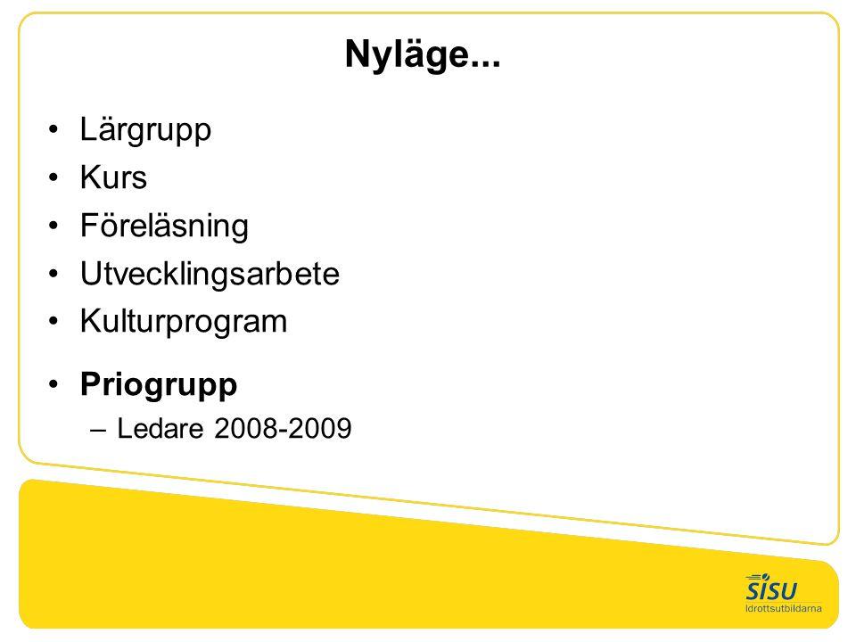 Nyläge... Lärgrupp Kurs Föreläsning Utvecklingsarbete Kulturprogram Priogrupp –Ledare 2008-2009