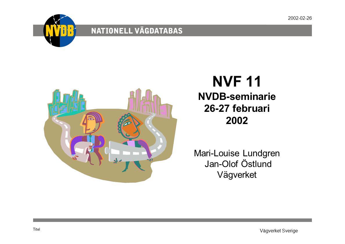 Vägverket Sverige 2002-02-26 Titel Dataflöde NVDB NVDB-formatet Shape Shape/LTF Egen applikation Egen applikatio n Slussen NVDB- systeme t NVDB-formatet Egna data Egna data NVDB data NVDB data Lokal DB Egna föret.