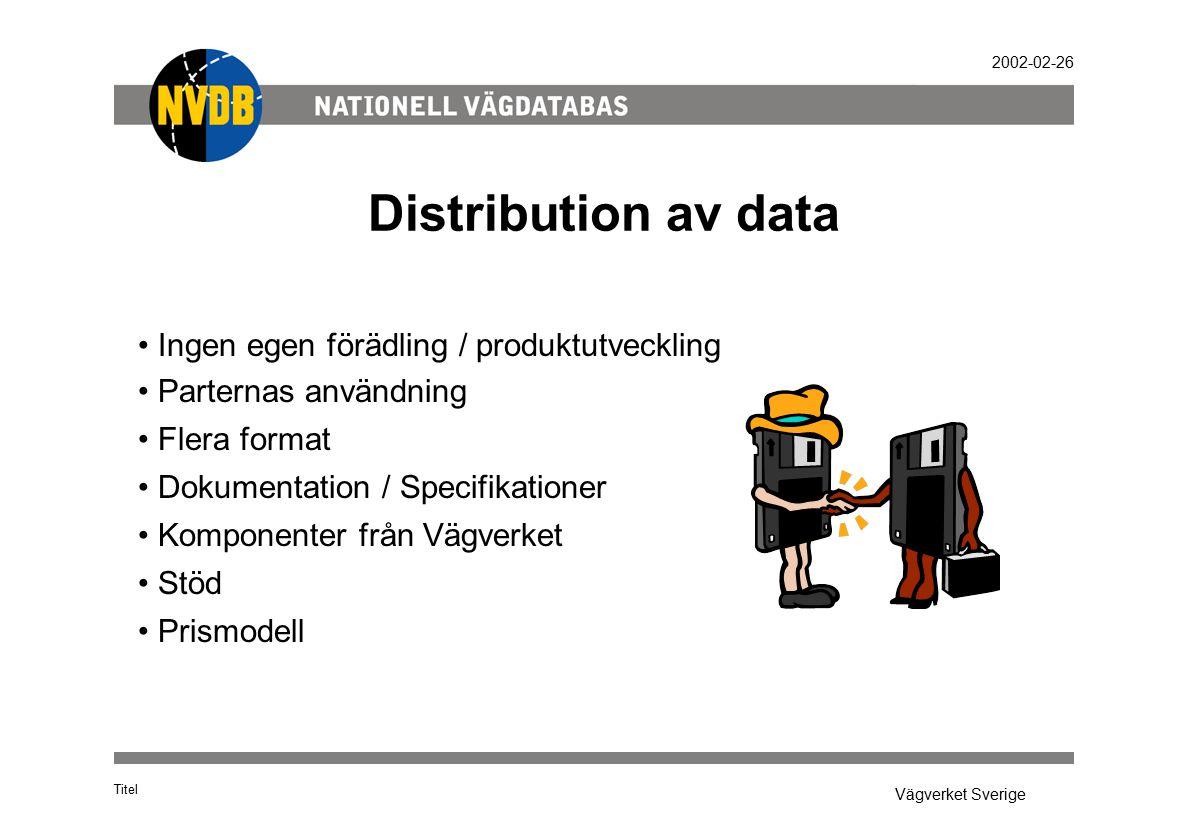 Vägverket Sverige 2002-02-26 Distribution av data Titel Ingen egen förädling / produktutveckling Parternas användning Flera format Dokumentation / Specifikationer Komponenter från Vägverket Stöd Prismodell