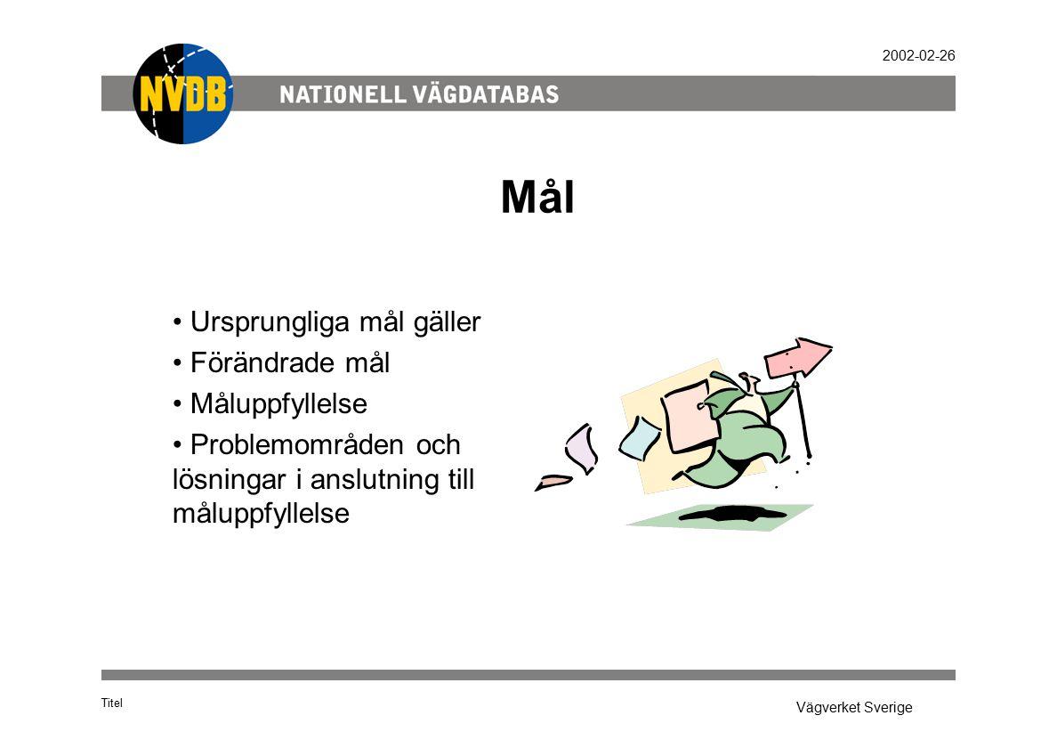 Vägverket Sverige 2002-02-26 Mål Titel Ursprungliga mål gäller Förändrade mål Måluppfyllelse Problemområden och lösningar i anslutning till måluppfyllelse