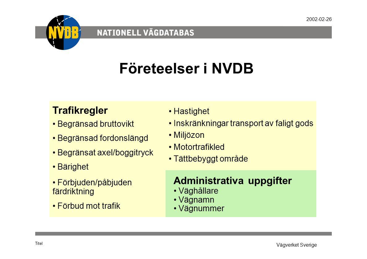 Vägverket Sverige 2002-02-26...företeelser i NVDB Titel Särskilda uppgifter för transporter på skogs- bilvägnätet Framkomlighet för vissa fordonskombinationer Svängmöjlighet Tillgänglighet Vägbom Vändmöjlighet Övriga företeelser Funktionell vägklass Rek.