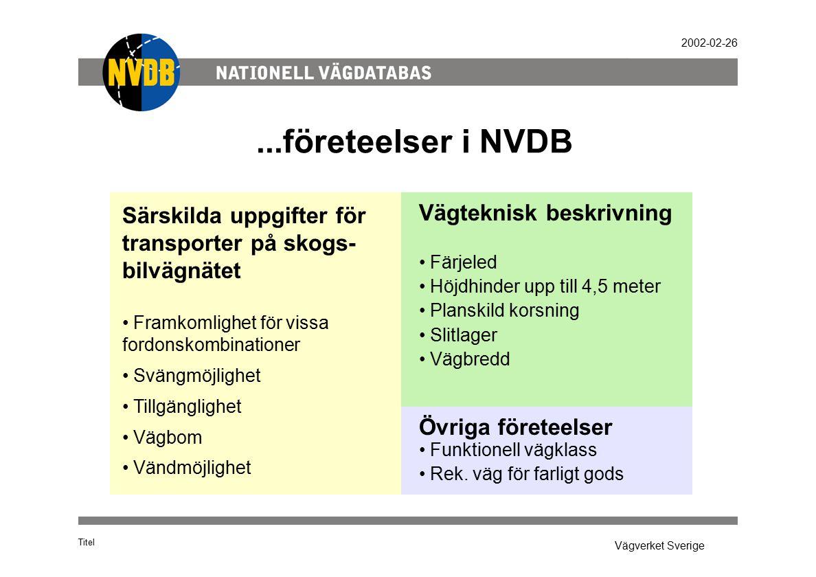 Vägverket Sverige 2002-02-26...företeelser i NVDB Titel Särskilda uppgifter för transporter på skogs- bilvägnätet Framkomlighet för vissa fordonskombi
