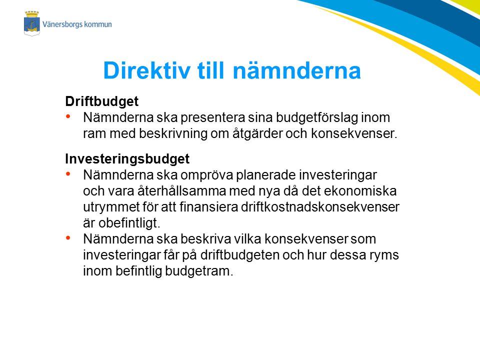 Direktiv till nämnderna Driftbudget Nämnderna ska presentera sina budgetförslag inom ram med beskrivning om åtgärder och konsekvenser. Investeringsbud
