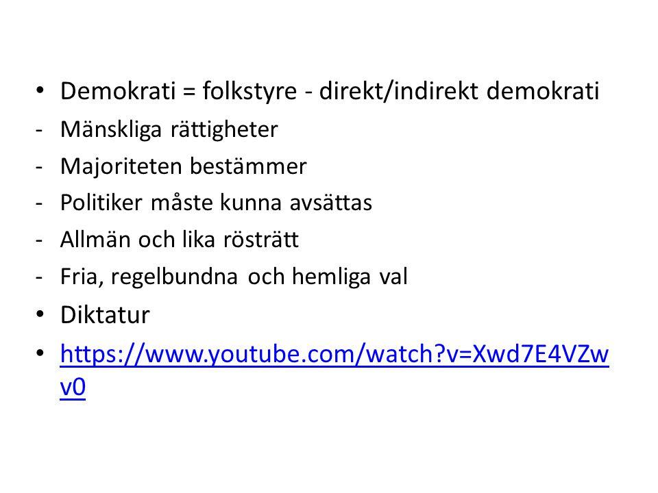 Demokrati = folkstyre - direkt/indirekt demokrati -Mänskliga rättigheter -Majoriteten bestämmer -Politiker måste kunna avsättas -Allmän och lika rösträtt -Fria, regelbundna och hemliga val Diktatur https://www.youtube.com/watch?v=Xwd7E4VZw v0 https://www.youtube.com/watch?v=Xwd7E4VZw v0
