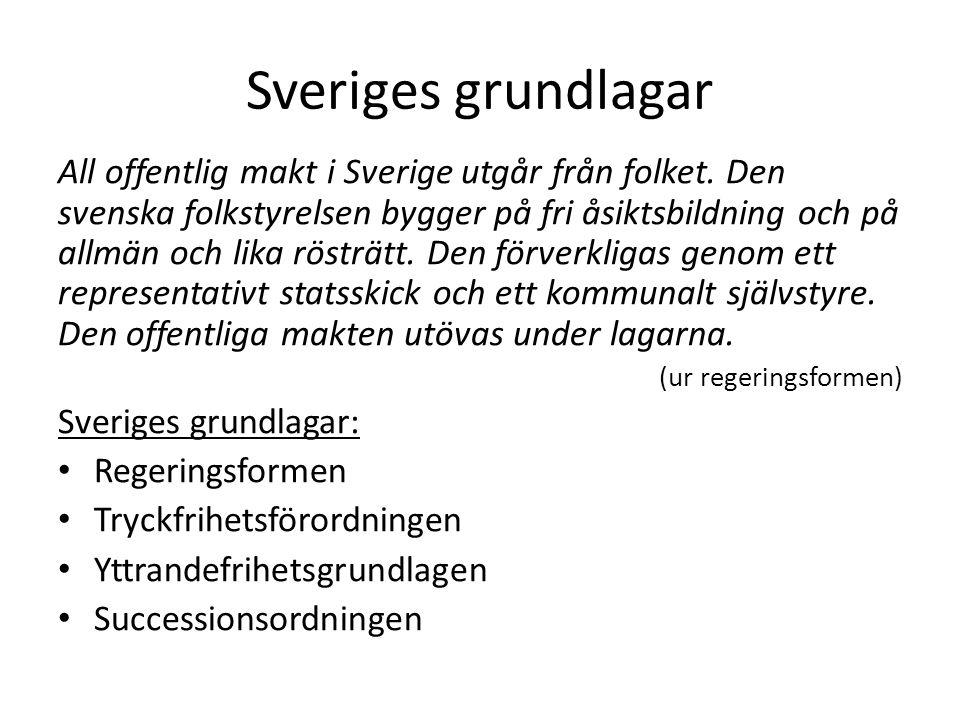 Sveriges grundlagar All offentlig makt i Sverige utgår från folket. Den svenska folkstyrelsen bygger på fri åsiktsbildning och på allmän och lika röst
