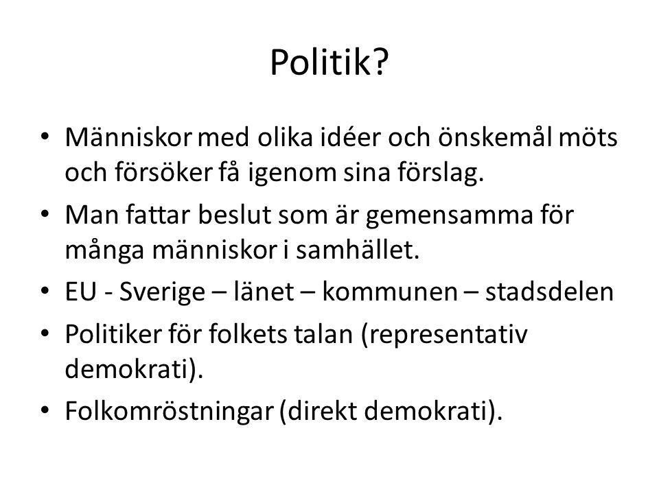 Politik.Människor med olika idéer och önskemål möts och försöker få igenom sina förslag.