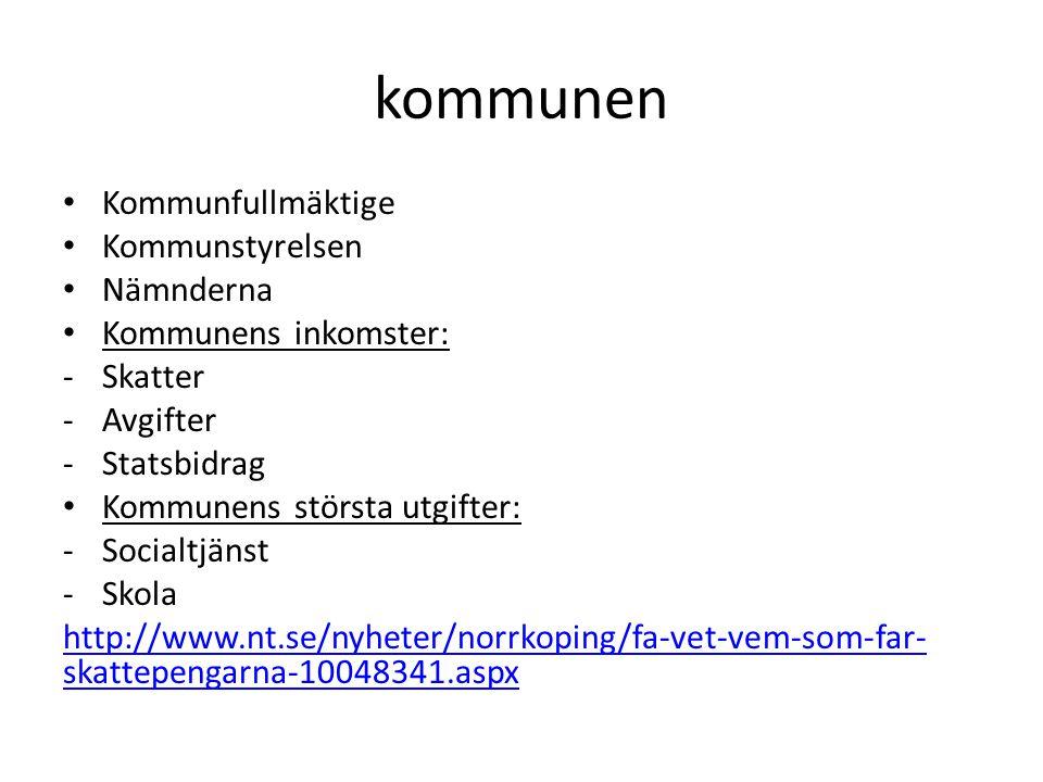 kommunen Kommunfullmäktige Kommunstyrelsen Nämnderna Kommunens inkomster: -Skatter -Avgifter -Statsbidrag Kommunens största utgifter: -Socialtjänst -Skola http://www.nt.se/nyheter/norrkoping/fa-vet-vem-som-far- skattepengarna-10048341.aspx
