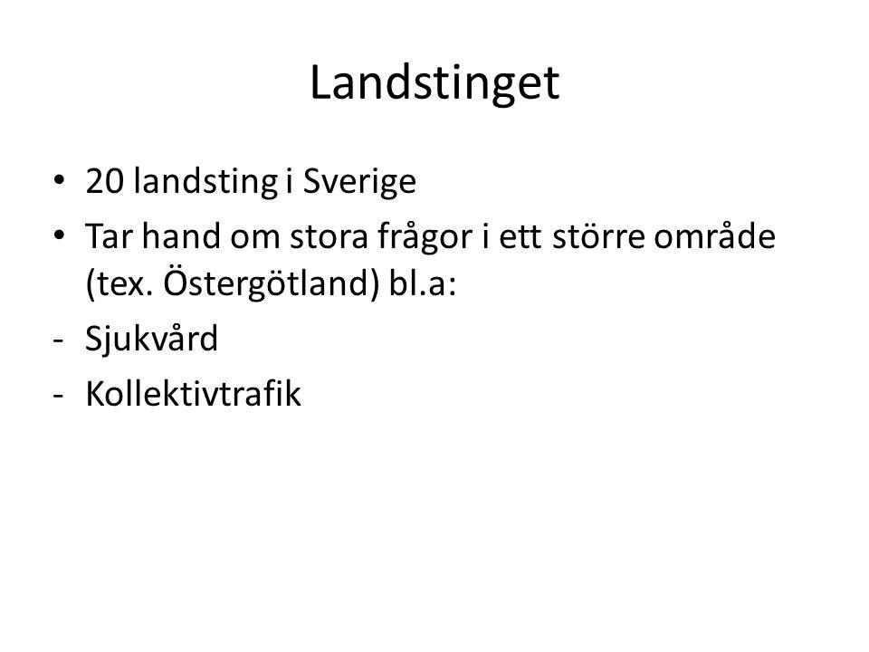 Landstinget 20 landsting i Sverige Tar hand om stora frågor i ett större område (tex. Östergötland) bl.a: -Sjukvård -Kollektivtrafik