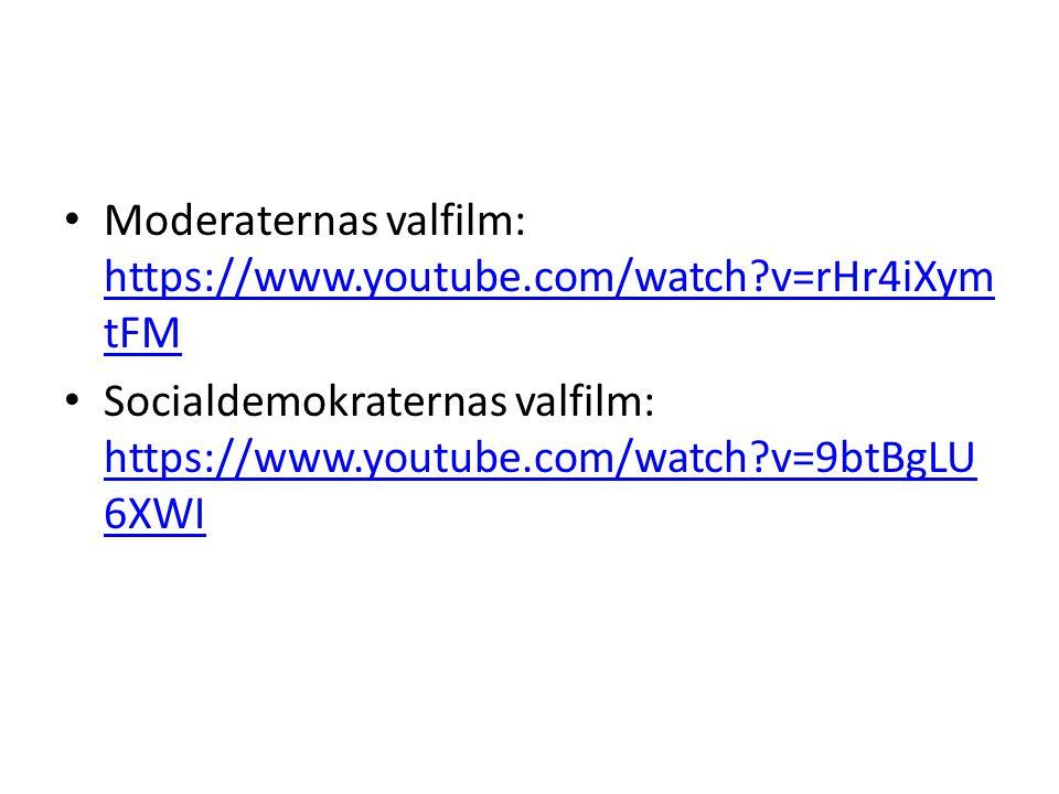 Moderaternas valfilm: https://www.youtube.com/watch?v=rHr4iXym tFM https://www.youtube.com/watch?v=rHr4iXym tFM Socialdemokraternas valfilm: https://www.youtube.com/watch?v=9btBgLU 6XWI https://www.youtube.com/watch?v=9btBgLU 6XWI
