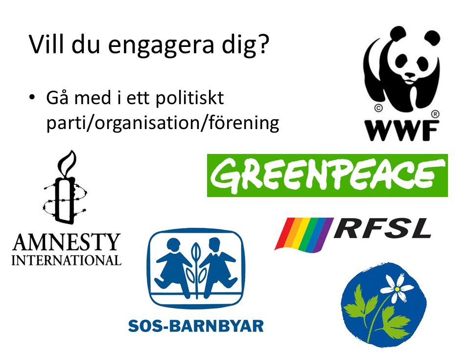 Vill du engagera dig? Gå med i ett politiskt parti/organisation/förening
