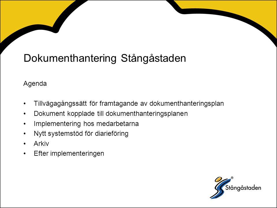 Dokumenthantering Stångåstaden Agenda Tillvägagångssätt för framtagande av dokumenthanteringsplan Dokument kopplade till dokumenthanteringsplanen Implementering hos medarbetarna Nytt systemstöd för diarieföring Arkiv Efter implementeringen