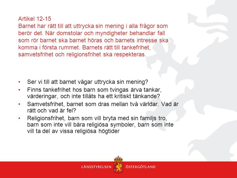 Artikel 12-15 Barnet har rätt till att uttrycka sin mening i alla frågor som berör det. När domstolar och myndigheter behandlar fall som rör barnet sk
