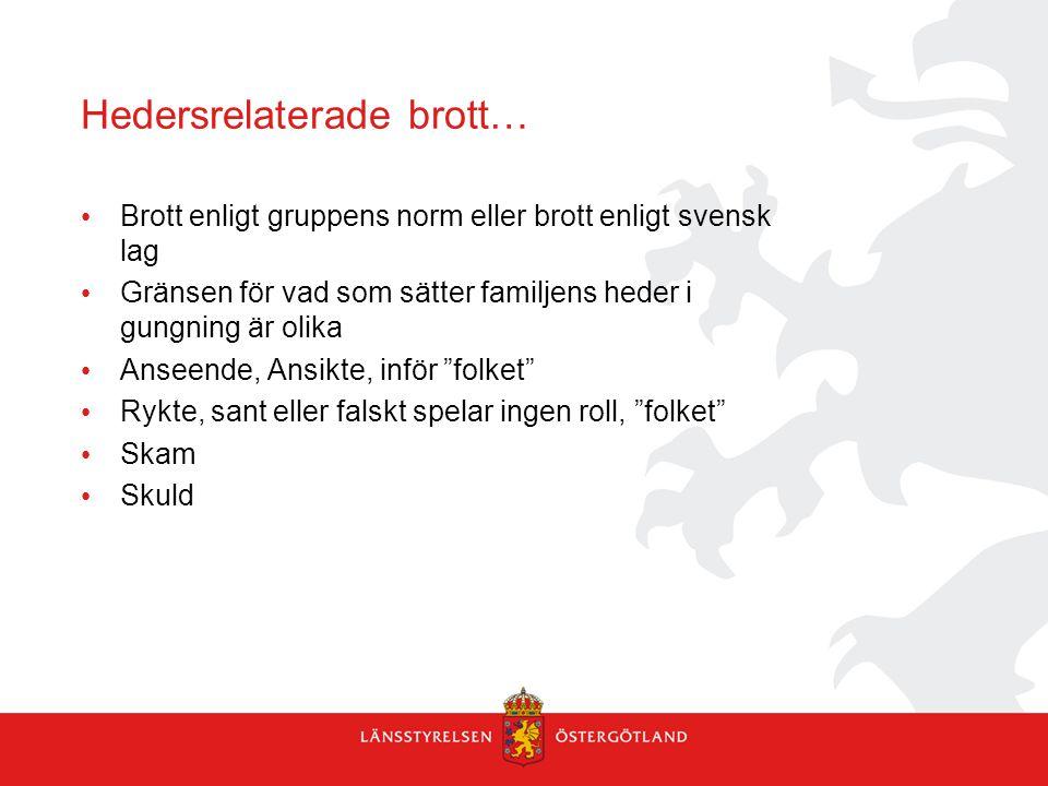 Hedersrelaterade brott… Brott enligt gruppens norm eller brott enligt svensk lag Gränsen för vad som sätter familjens heder i gungning är olika Anseen