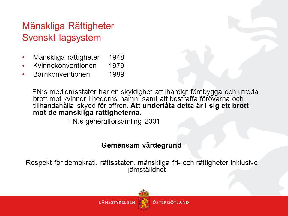 Mänskliga Rättigheter Svenskt lagsystem Mänskliga rättigheter1948 Kvinnokonventionen1979 Barnkonventionen1989 FN:s medlemsstater har en skyldighet att