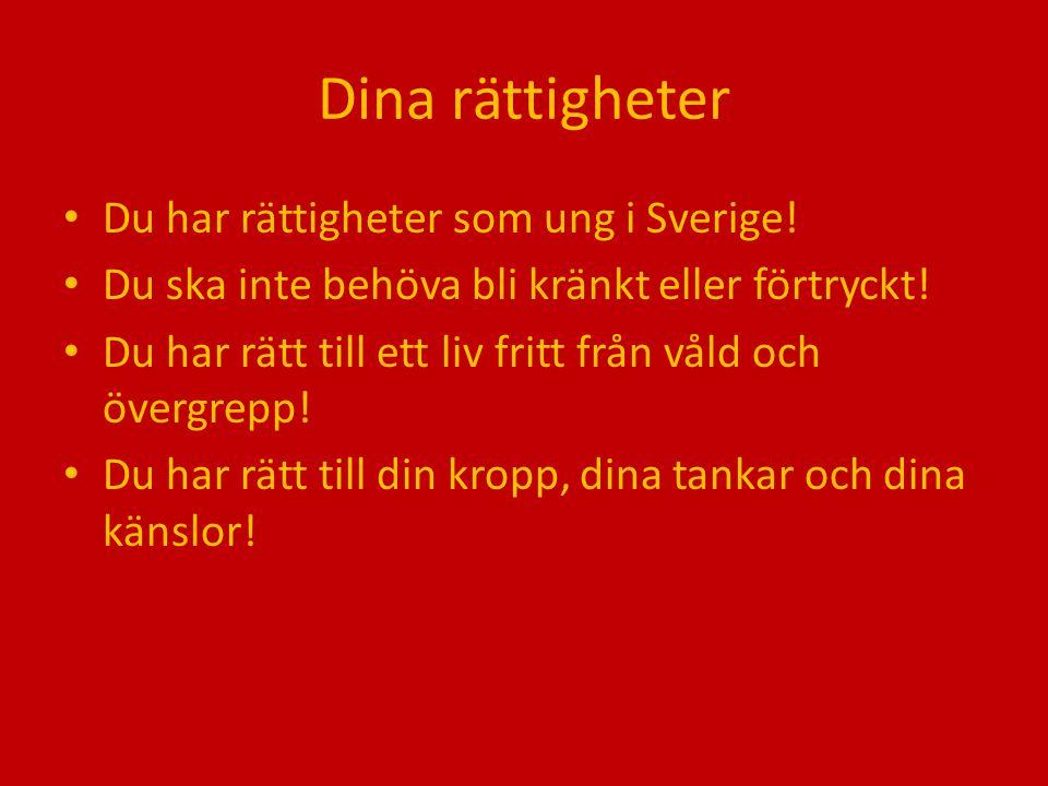 Dina rättigheter Du har rättigheter som ung i Sverige! Du ska inte behöva bli kränkt eller förtryckt! Du har rätt till ett liv fritt från våld och öve
