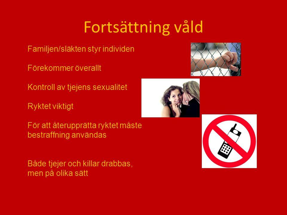 Fortsättning våld Familjen/släkten styr individen Förekommer överallt Kontroll av tjejens sexualitet Ryktet viktigt För att återupprätta ryktet måste bestraffning användas Både tjejer och killar drabbas, men på olika sätt