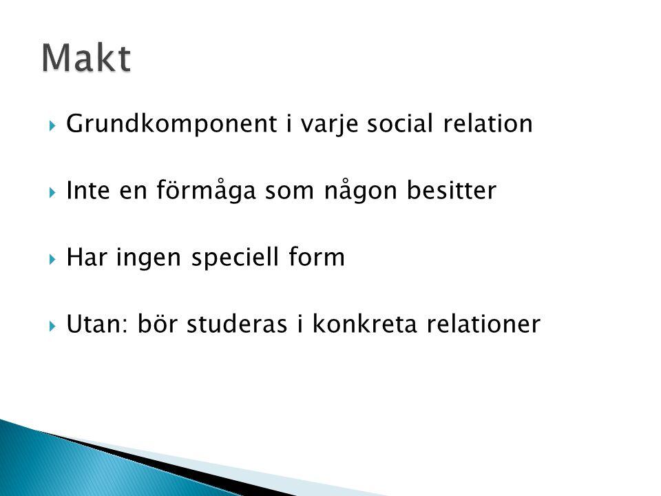  Grundkomponent i varje social relation  Inte en förmåga som någon besitter  Har ingen speciell form  Utan: bör studeras i konkreta relationer