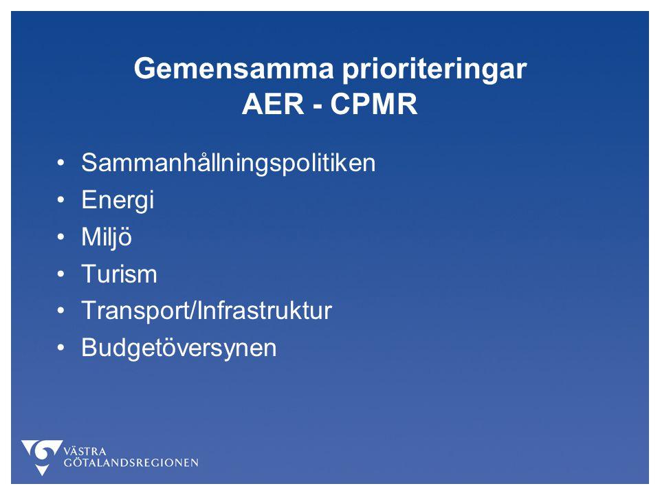 Gemensamma prioriteringar AER - CPMR Sammanhållningspolitiken Energi Miljö Turism Transport/Infrastruktur Budgetöversynen