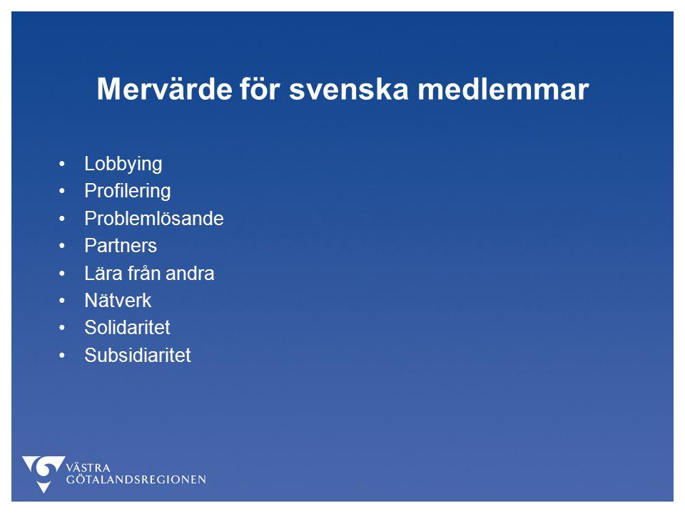 Mervärde för svenska medlemmar Lobbying Profilering Problemlösande Partners Lära från andra Nätverk Solidaritet Subsidiaritet