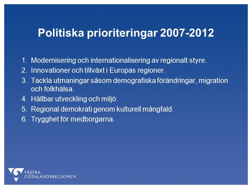 Politiska prioriteringar 2007-2012 1.Modernisering och internationalisering av regionalt styre.