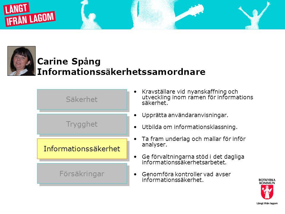Carine Sp å ng Informationss ä kerhetssamordnare Kravställare vid nyanskaffning och utveckling inom ramen för informations säkerhet.