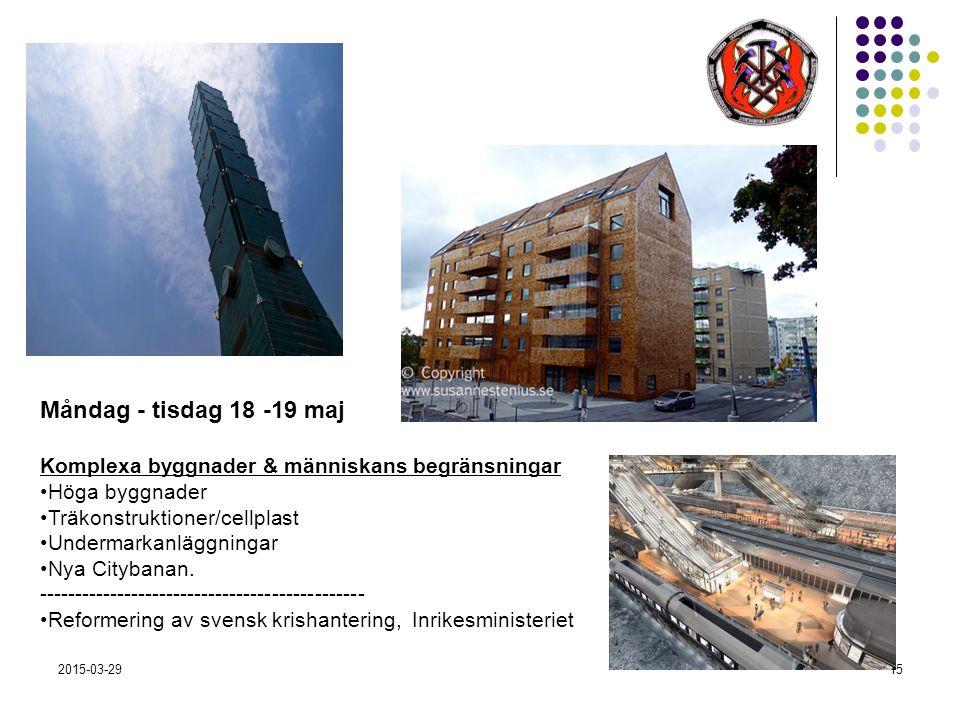 2015-03-2915 Måndag - tisdag 18 -19 maj Komplexa byggnader & människans begränsningar Höga byggnader Träkonstruktioner/cellplast Undermarkanläggningar Nya Citybanan.