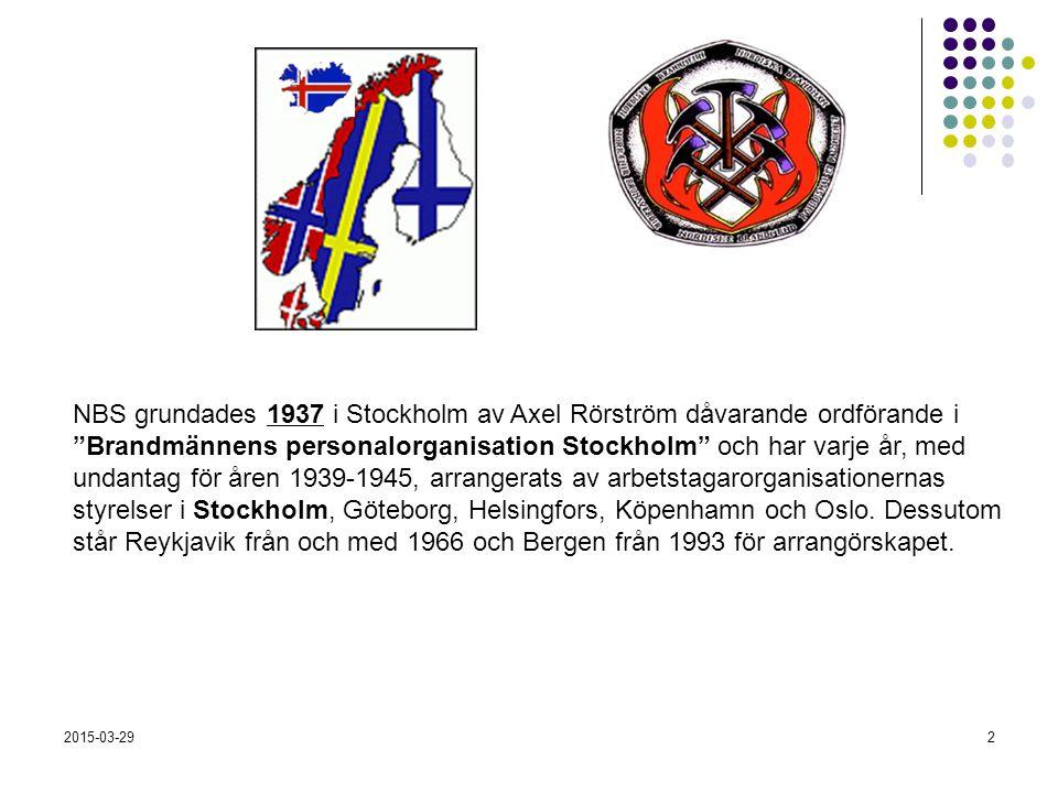 2015-03-292 NBS grundades 1937 i Stockholm av Axel Rörström dåvarande ordförande i Brandmännens personalorganisation Stockholm och har varje år, med undantag för åren 1939-1945, arrangerats av arbetstagarorganisationernas styrelser i Stockholm, Göteborg, Helsingfors, Köpenhamn och Oslo.