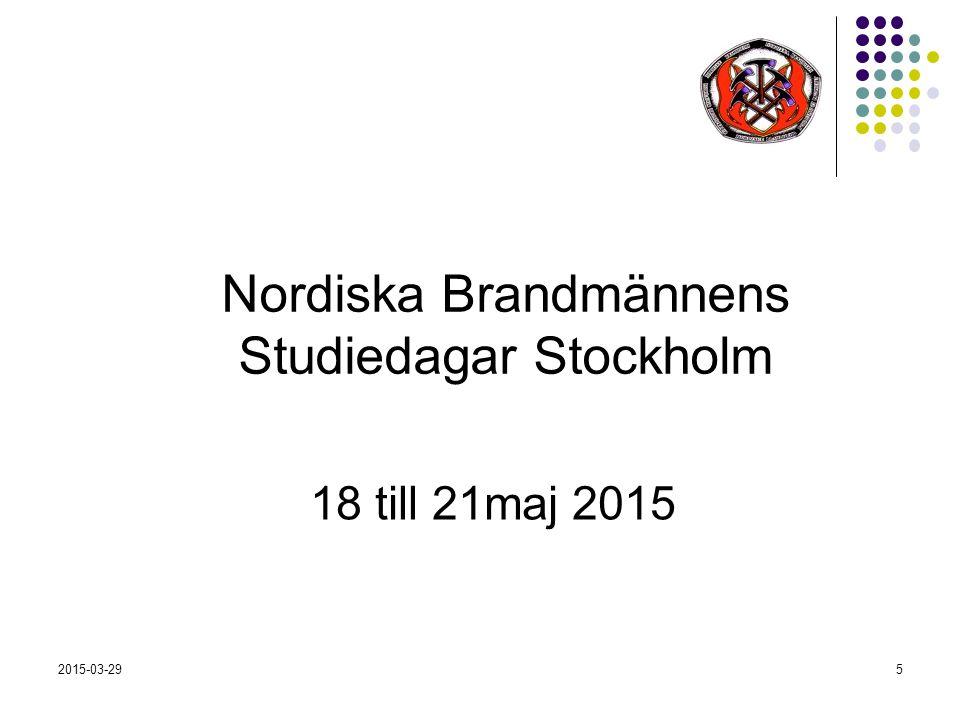 2015-03-295 Nordiska Brandmännens Studiedagar Stockholm 18 till 21maj 2015