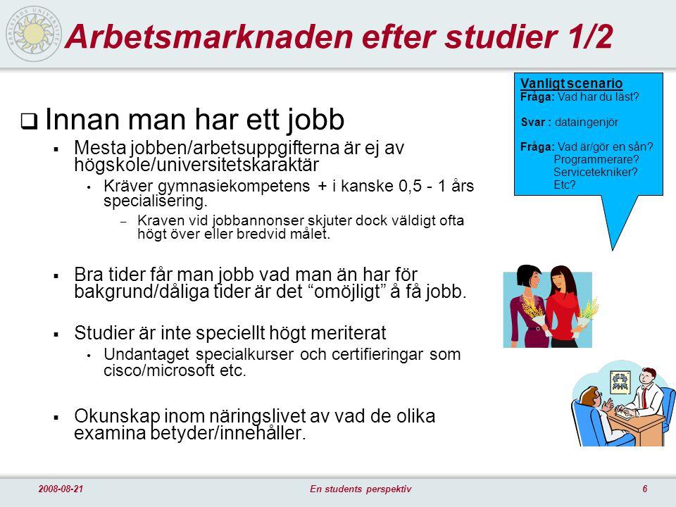 62008-08-21En students perspektiv Arbetsmarknaden efter studier 1/2  Innan man har ett jobb  Mesta jobben/arbetsuppgifterna är ej av högskole/universitetskaraktär Kräver gymnasiekompetens + i kanske 0,5 - 1 års specialisering.
