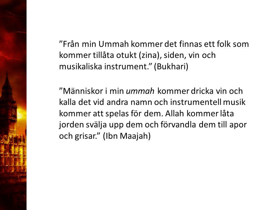 """3. Delandet av månen """"Från min Ummah kommer det finnas ett folk som kommer tillåta otukt (zina), siden, vin och musikaliska instrument."""" (Bukhari) """"Mä"""