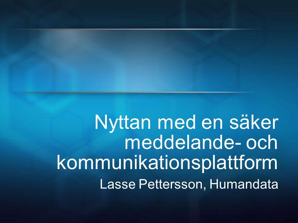 Nyttan med en säker meddelande- och kommunikationsplattform Lasse Pettersson, Humandata