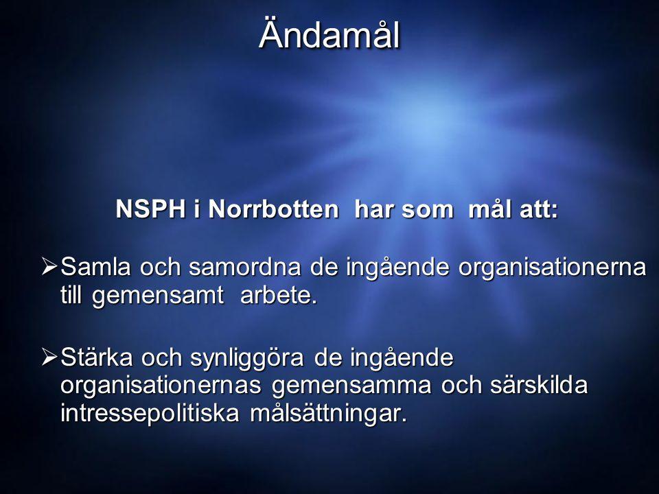 ÄndamålÄndamål NSPH i Norrbotten har som mål att: NSPH i Norrbotten har som mål att:  Samla och samordna de ingående organisationerna till gemensamt arbete.