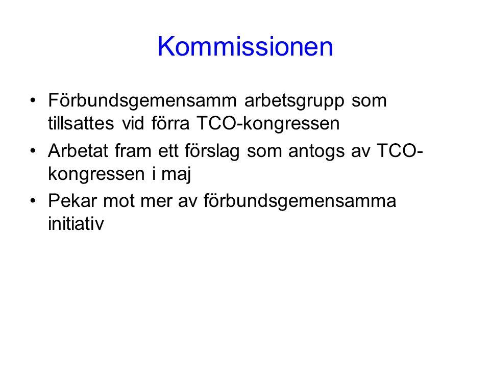 Kommissionen Förbundsgemensamm arbetsgrupp som tillsattes vid förra TCO-kongressen Arbetat fram ett förslag som antogs av TCO- kongressen i maj Pekar mot mer av förbundsgemensamma initiativ