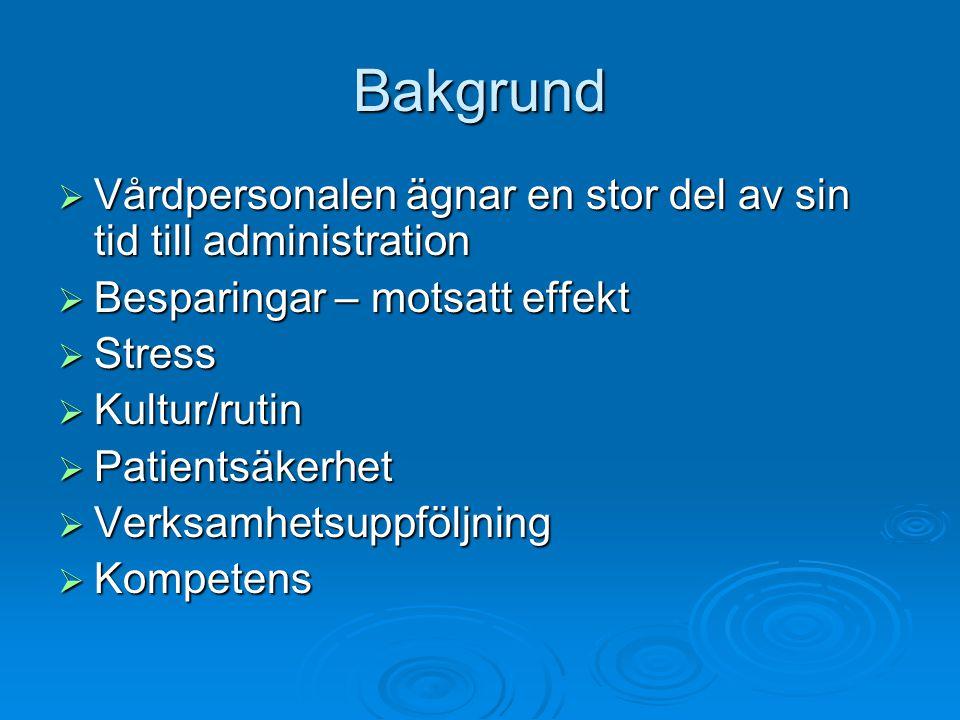 Bakgrund  Vårdpersonalen ägnar en stor del av sin tid till administration  Besparingar – motsatt effekt  Stress  Kultur/rutin  Patientsäkerhet  Verksamhetsuppföljning  Kompetens