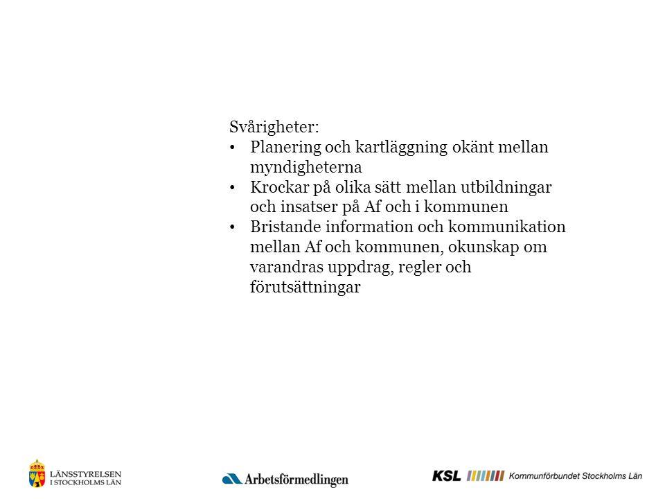 Svårigheter: Planering och kartläggning okänt mellan myndigheterna Krockar på olika sätt mellan utbildningar och insatser på Af och i kommunen Bristande information och kommunikation mellan Af och kommunen, okunskap om varandras uppdrag, regler och förutsättningar