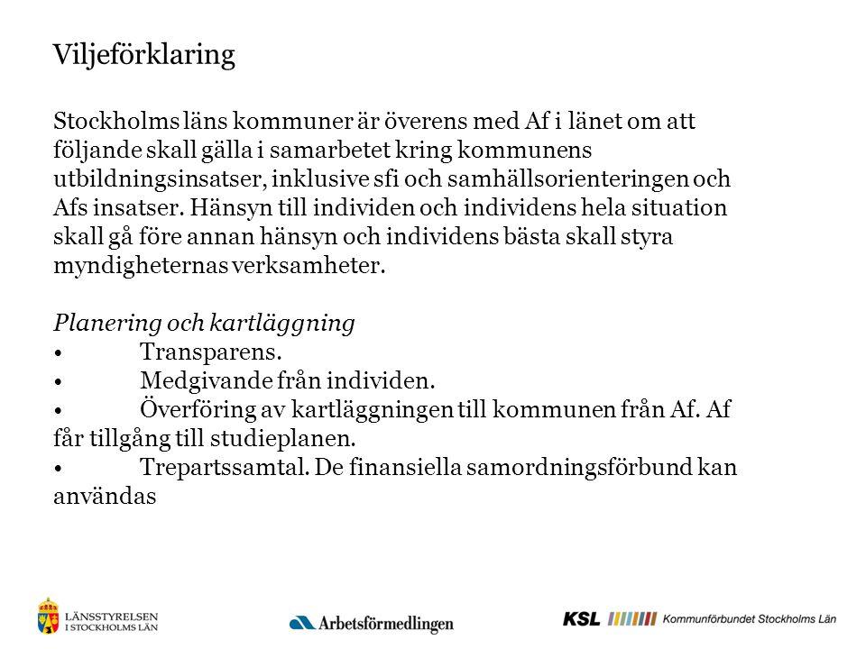 Viljeförklaring Stockholms läns kommuner är överens med Af i länet om att följande skall gälla i samarbetet kring kommunens utbildningsinsatser, inklusive sfi och samhällsorienteringen och Afs insatser.