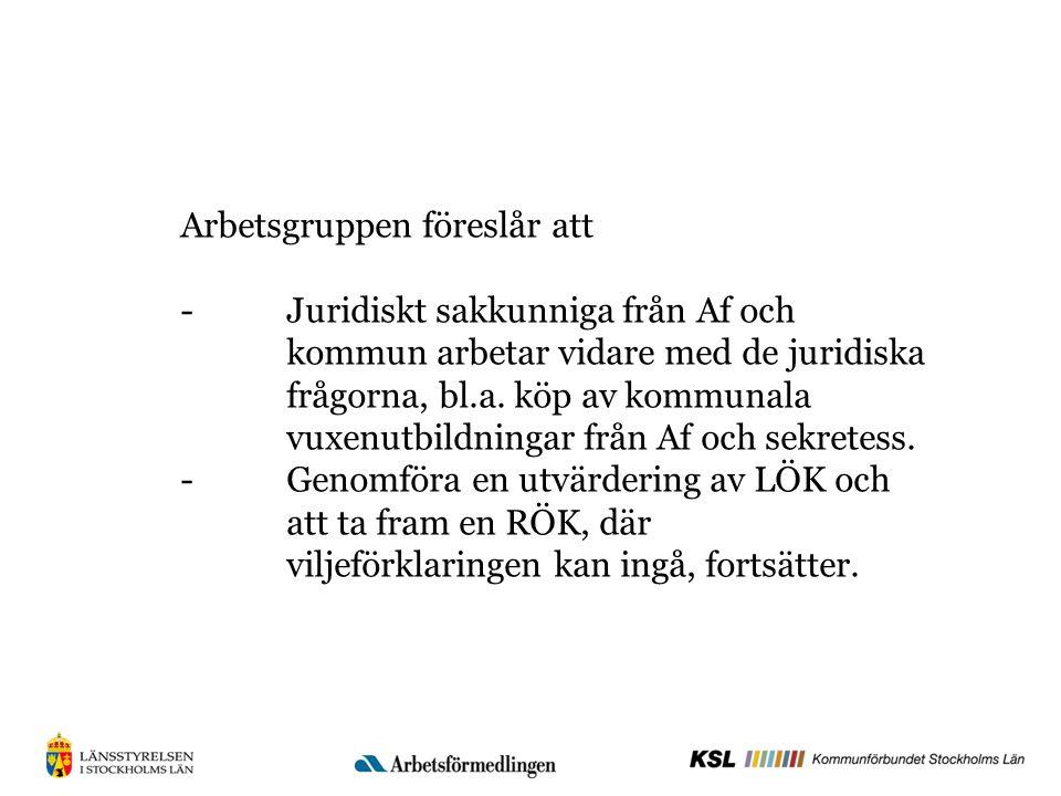 Arbetsgruppen föreslår att -Juridiskt sakkunniga från Af och kommun arbetar vidare med de juridiska frågorna, bl.a.