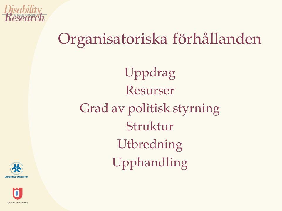 Organisatoriska förhållanden Uppdrag Resurser Grad av politisk styrning Struktur Utbredning Upphandling