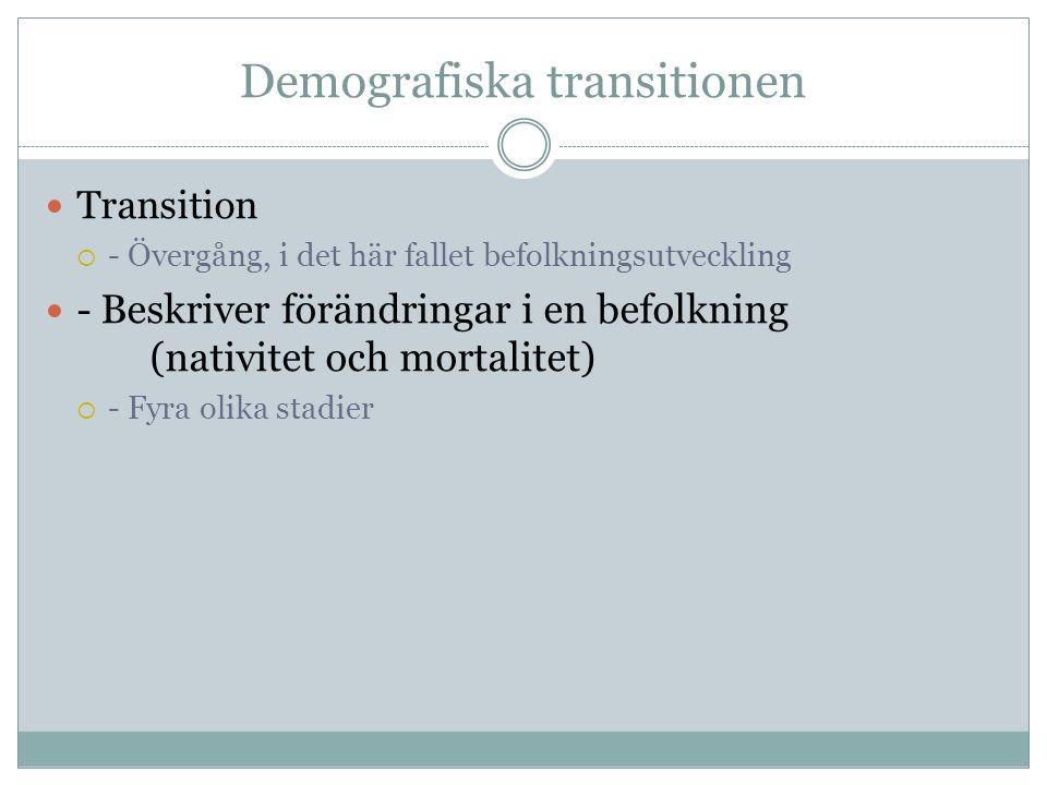 Demografiska transitionen Transition  - Övergång, i det här fallet befolkningsutveckling - Beskriver förändringar i en befolkning (nativitet och mortalitet)  - Fyra olika stadier